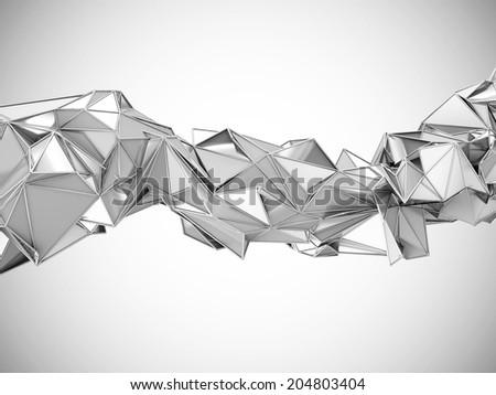 Abstract Metallic Rumpled Triangular Wave Geometry - stock photo