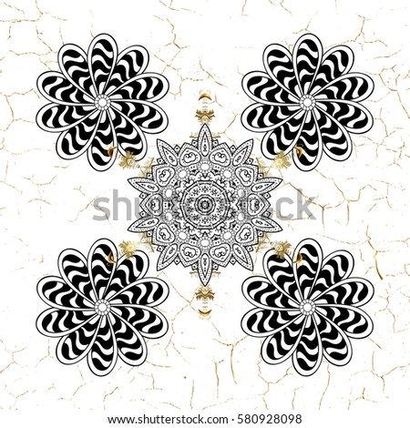 Abstract minimal background. White snowflakes on white background with golden elements.