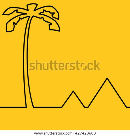 Abstract minimalist landscape with palm and pyramids