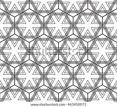 Abstract mirror seamless pattern with complex triangle style. Repeating sample figure and line. For modern interiors design, wallpaper, textile industry