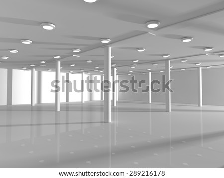Abstract modern architecture background, empty white open space interior with windows and gray concrete walls, 3D rendering