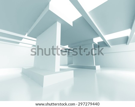 Abstract Modern Architecture. Empty Room Interior Background. 3d Render Illustration