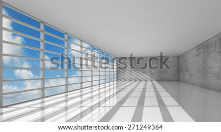 Abstract modern architecture, empty white interior with windows and gray concrete walls, 3d illustration with blue sky background