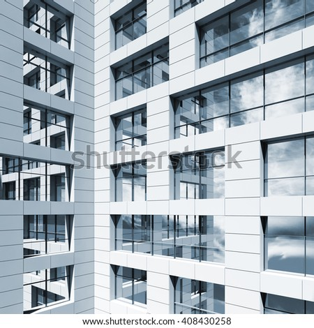 Abstract modern architecture, windows with cloudy sky reflections in white walls. Blue toned 3d render illustration - stock photo