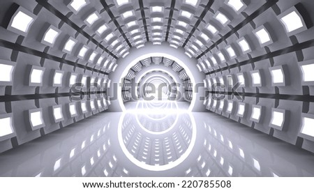 Abstract Modern Background, empty futuristic interior, 3D rendering - stock photo