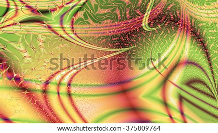 Abstract modern background with a random interconnected plastic fluid like wavy pattern with color streaks, lines and arches, all in sepia tinted pink,green,yellow - stock photo