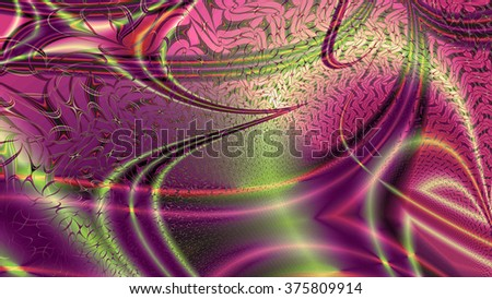 Abstract modern background with a random interconnected plastic fluid like wavy pattern with color streaks, lines and arches, all in sepia tinted pink,purple,green - stock photo