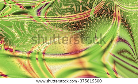 Abstract modern background with a random interconnected plastic fluid like wavy pattern with color streaks, lines and arches, all in sepia tinted pink,yellow,green - stock photo
