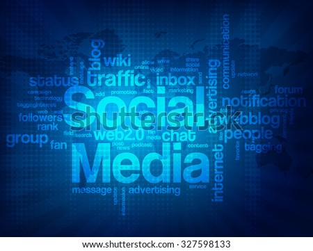 Abstract modern blue background with words associated with social media.
