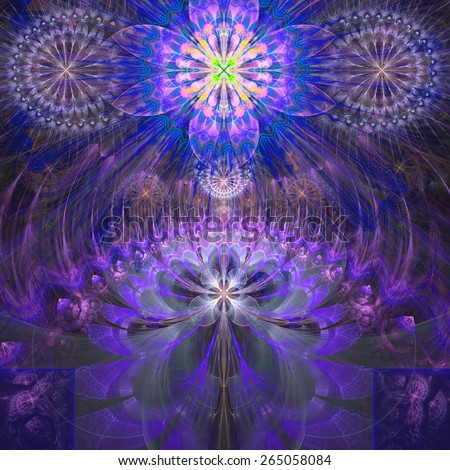 Abstract modern bright shining spring fractal flower and star background flowers/stars on top and a larger flower on the bottom with decorative arches. All in high resolution and in pink,purple,yellow - stock photo