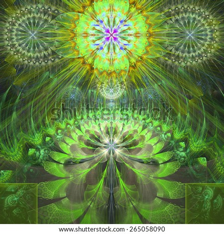 Abstract modern bright shining spring fractal flower and star background flowers/stars on top and a larger flower on the bottom with decorative arches.All in high resolution and in yellow,green,purple - stock photo