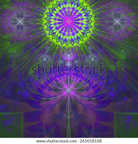 Abstract modern bright shining spring fractal flower and star background flowers/stars on top and a larger flower on the bottom with decorative arches. All in high resolution and in pink,purple,green - stock photo