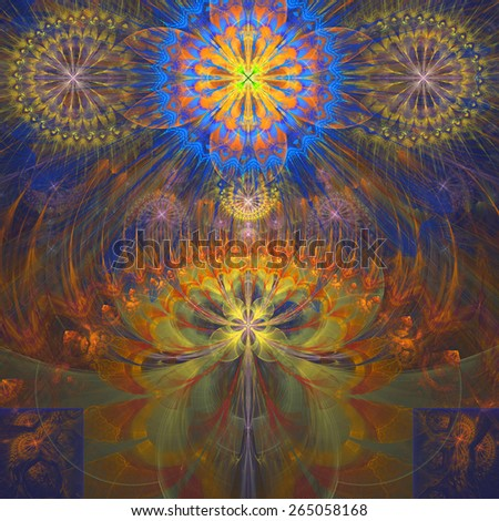 Abstract modern bright shining spring fractal flower and star background flowers/stars on top and a larger flower on the bottom with decorative arches. All in high resolution and in yellow,orange,blue - stock photo