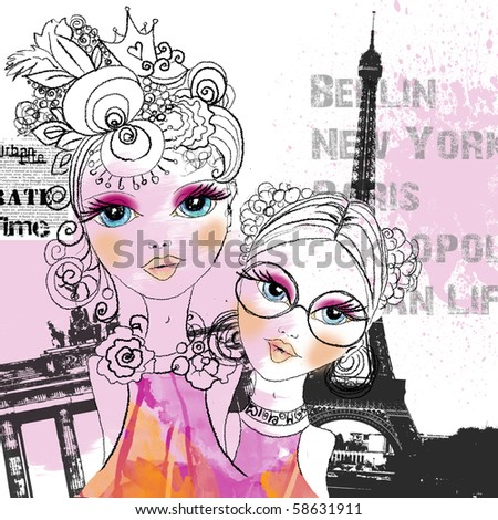 Abstract modern city illustration with two girls in front of Paris and Berlin