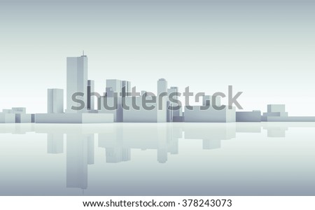 Abstract modern cityscape skyline. Blue toned 3d render with reflection on ground