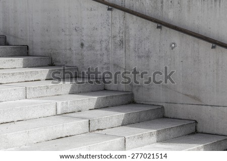 Abstract modern concrete stairs to building - stairway composition - stock photo