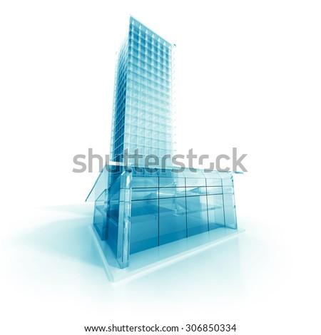 Abstract Modern Glass Design Building. 3d Render Illustration - stock photo