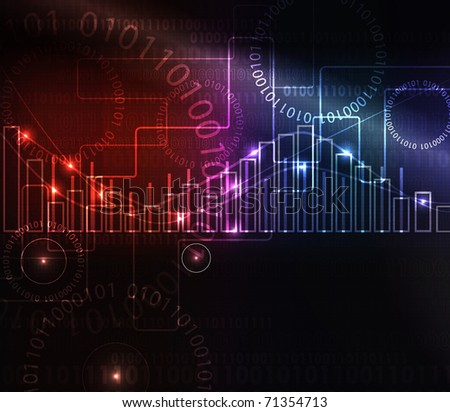 abstract modern glowing background with graph, raster illustration