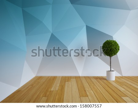 Abstract modern interior room with plant
