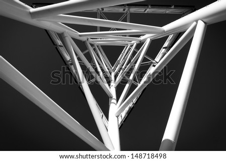 abstract modern technology structure in black and white - stock photo