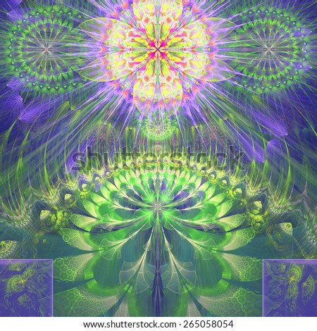 Abstract modern vivid shining spring fractal flower and star background flowers/stars on top and a larger flower on the bottom with decorative arches.In high resolution and in yellow,green,purple,pink - stock photo