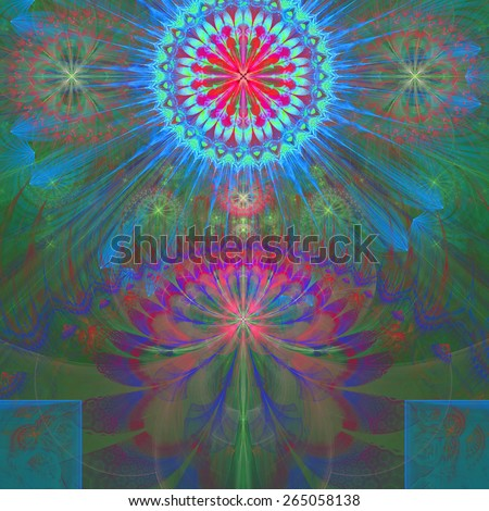 Abstract modern vivid shining spring fractal flower and star background flowers/stars on top and a larger flower on the bottom with decorative arches. In high resolution in blue,green,pink,purple,cyan - stock photo