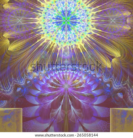 Abstract modern vivid shining spring fractal flower and star background flowers/stars on top and a larger flower on the bottom with decorative arches.In high resolution and in yellow,purple,blue,green - stock photo