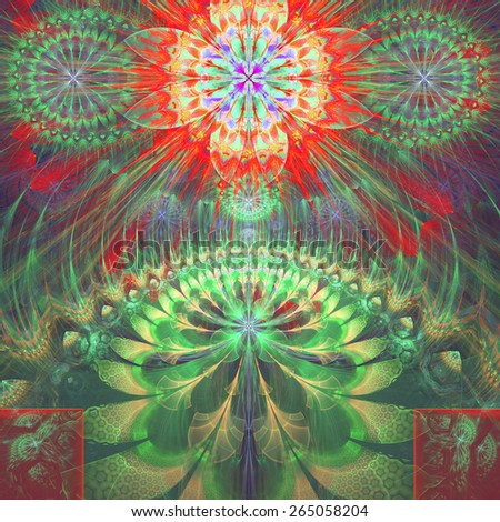 Abstract modern vivid shining spring fractal flower and star background flowers/stars on top and a larger flower on the bottom with decorative arches. In high resolution and in green,yellow,purple,red - stock photo