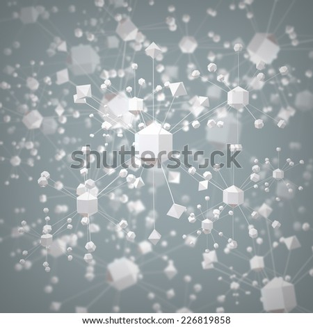 abstract molecular background - stock photo