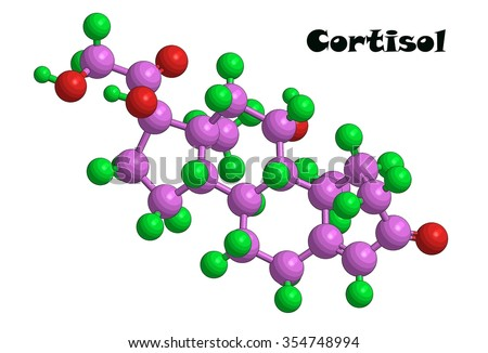 Abstract molecular structure of Cortisol (Hydrocortisone) -  glucocorticoid produced by humans - stock photo
