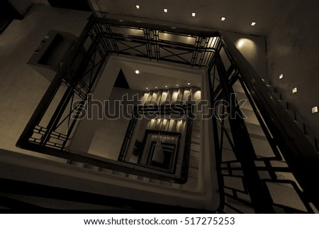 Abstract Mono tone of spiral staircase background picture