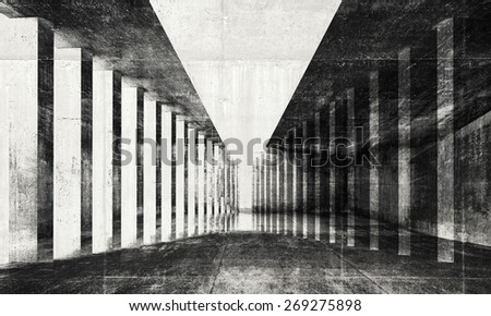 Abstract monochrome dark grungy surreal tunnel interior background, 3d illustration with concrete texture - stock photo