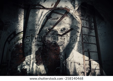 Abstract monochrome horror background, abandoned dark room with ghost of dangerous man in hood. Double exposure photo effect - stock photo