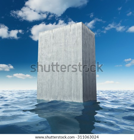Abstract monolithic concrete slab in sea - stock photo