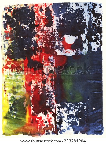 Abstract monoprint screenprint - stock photo