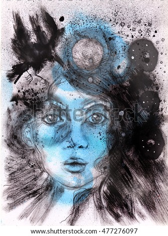 abstract moon girl illustration | hand made drawing