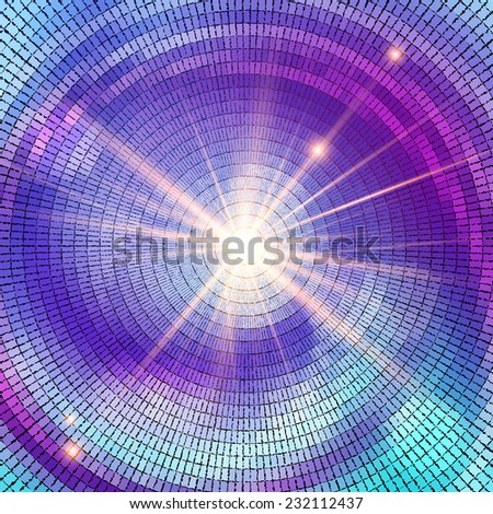 Abstract mosaic background with bright light.