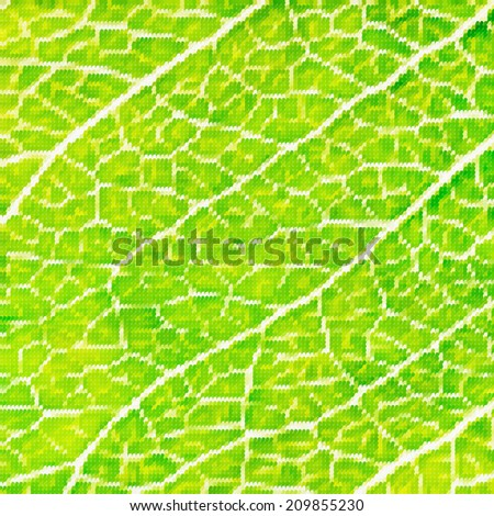 Abstract mosaic colorful leaf macro background. Modern design. Square illustration of natural materials.