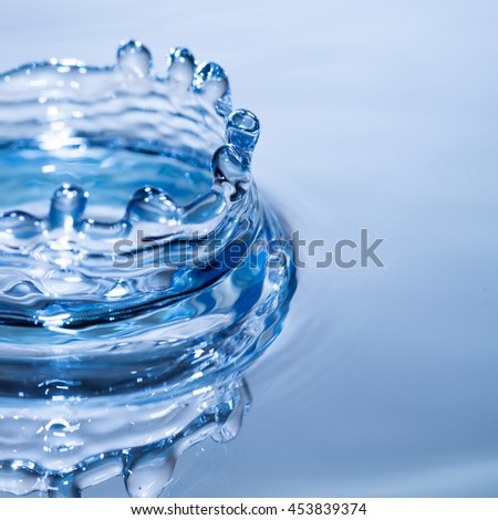 Abstract motion blur blue circle water drop ripple movement. Liquid texture background with copy space.