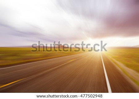 Abstract Motion blurred high speed road