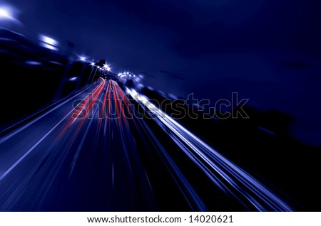 abstract motorway at night - stock photo