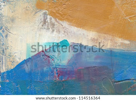 Abstract mountain landscape hand painted background - stock photo