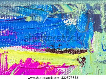 abstract multi color layer artwork, oil paint textures on canvas for background or text