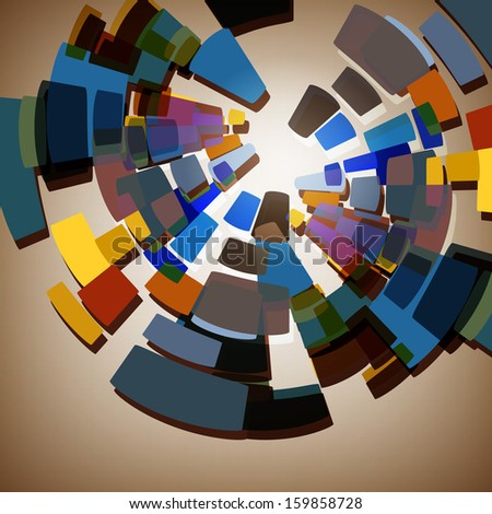 Abstract multi-coloured background with geometrical figures - stock photo