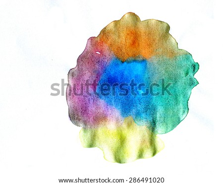 Abstract multicolor isolated on white background, watercolor illustration and texture paper