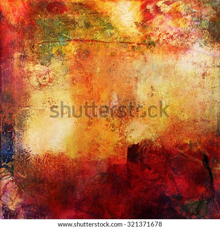 abstract multicolor layer artwork, opaque and transparent oil paint textures on canvas - stock photo