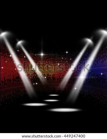 abstract multicolor music disco party events stage spotlights - stock photo
