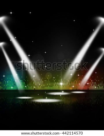 abstract multicolor music party event stage lights - stock photo