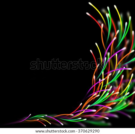 Abstract multicolored Internet concept. Colored Internet communication cables technology background. Internet electricity optic flow design. Fast futuristic broadband connections conceptual view. - stock photo