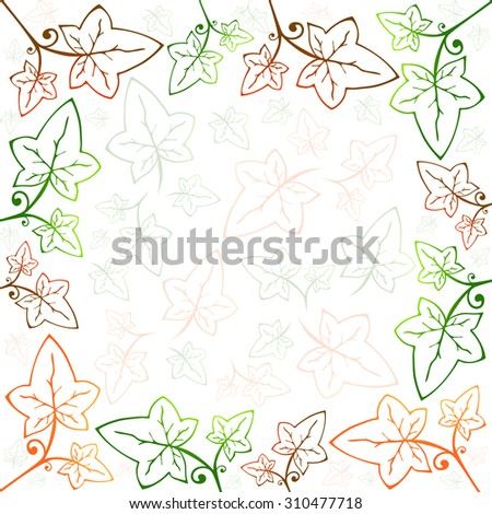 Abstract Multicolored Ivy Frame and Background With Copyspace - stock photo